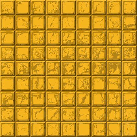 drown: Cartoon hand drown gold seamless decorative old scratched tiles texture. Vector illustration