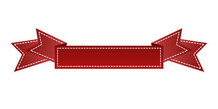 webbing: Embroidered red ribbon isolated on white. Can be used for banner, award, sale, icon, logo, label etc. Vector illustration