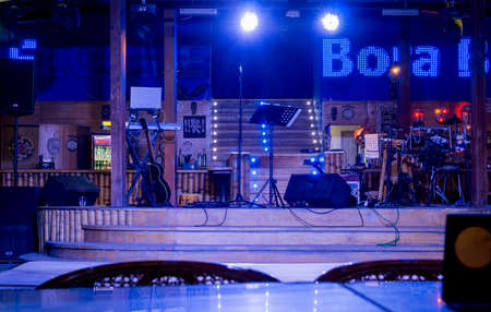 night club interior: Koblevo, Ukraine - August 15, 2015: Bora Bora club. Vintage night club interior