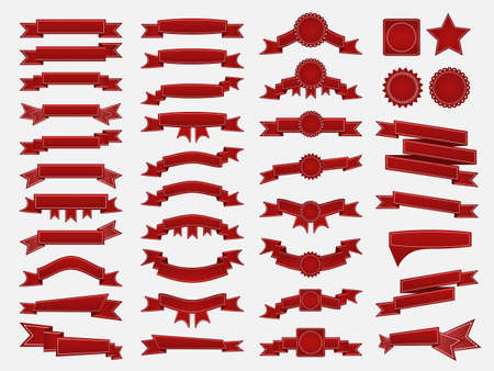 waft: Big set of embroidered red ribbons and stumps isolated on white. Can be used for banner, award, sale, icon, logo, label etc. Vector illustration Illustration