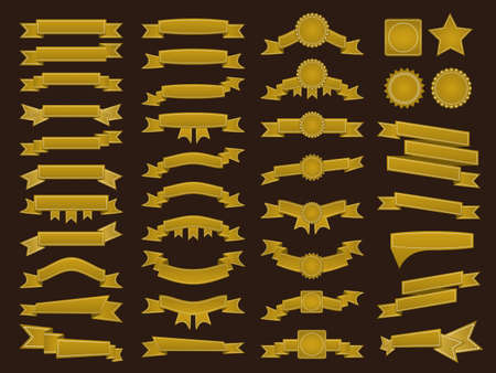 webbing: Big set of embroidered golden ribbons and stumps on brown background. Can be used for banner, award, sale, icon, logo, label etc. Vector illustration