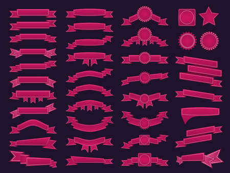 Big set of embroidered pink ribbons and stumps on dark purple background. Can be used for banner, award, sale, icon, logo, label etc. Vector illustration Illustration