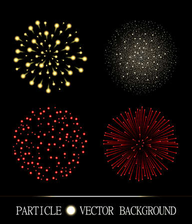 Red and yellow fireworks set on chess style transparent background. Vector illustration