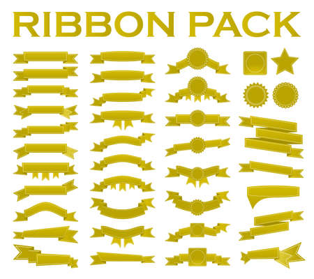 Big set of embroidered gold ribbons and stumps isolated on white. Can be used for banner, award, sale, icon, logo, label etc. Vector illustration Illustration