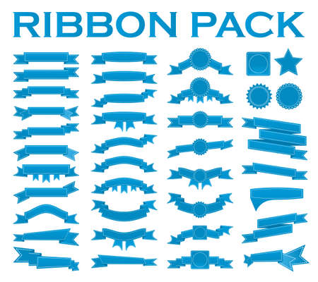waft: Big set of embroidered blue ribbons and stumps isolated on white. Can be used for banner, award, sale, icon, logo, label etc. Vector illustration