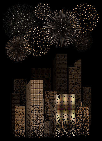 modern architecture: Yellow firework show on night city landscape background. Vector illustration