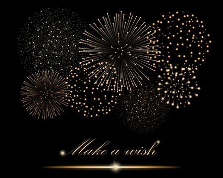 Golden firework show on black background.