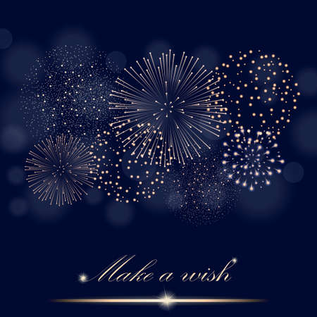 ambient: Golden firework show on ambient blue blurred background. Make a wish concept. Vector illustration