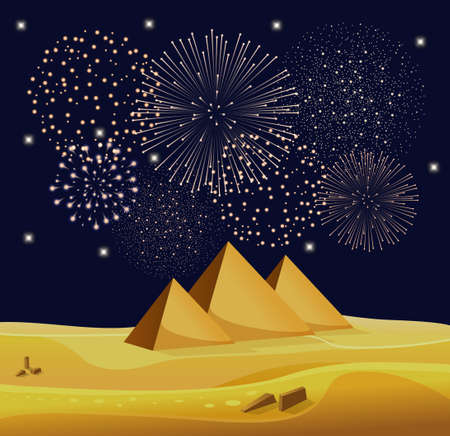 egyptian pyramids: Firework show over Egyptian pyramids in the desert with star night sky. Vector illustration Illustration