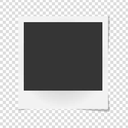 Realistic vector photo frame isolated. Template retro photo design, Vector illustration