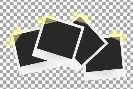 sticky tape: Set of realistic vector photo frames on sticky tape. Template photo design, Vector illustration Illustration