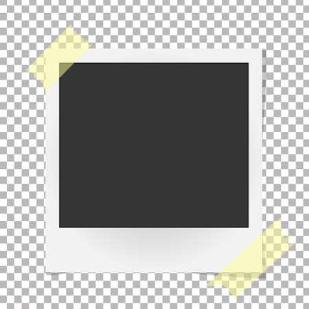 sticky tape: Realistic vector photo frame on sticky tape. Template photo design, Vector illustration