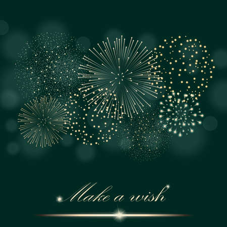 ambient: Golden firework show on ambient green blurred background. Make a wish concept. Vector illustration Illustration