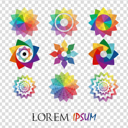 Pack of 9 transparent rainbow abstract geometric flowers logo template isolated. Business abstract icon. Use for logo, sign, symbol, web, label, icon. Vector illustration Illustration