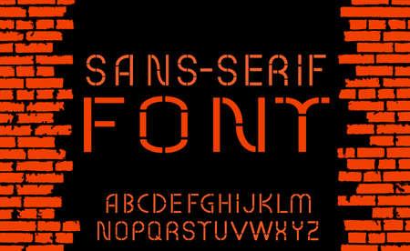 sans: Orange sans-serif modern font on old brick wall background. Vector illustration Illustration