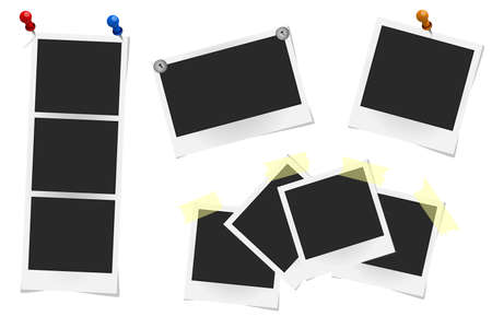 sticky tape: Set of realistic vector photo frames on sticky tape, pins and rivets isolated on white. Template photo design, Vector illustration