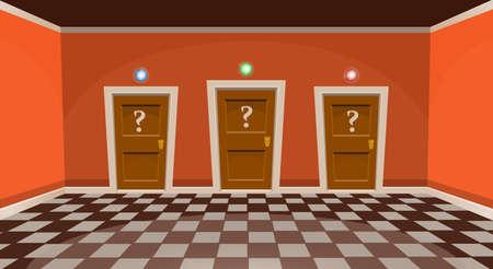 Cartoon choose a door concept. Empty room with three door in orange style. Vector illustration