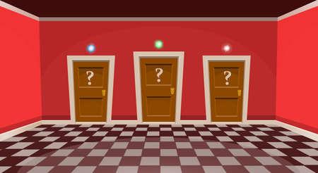 Cartoon choose a door concept. Empty room with three door in red style. Vector illustration Illustration