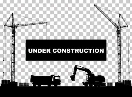 """""""Under construction"""" -Konzept auf der Baustelle mit detaillierten Silhouetten von Baumaschinen isoliert. Vektor-Illustration"""