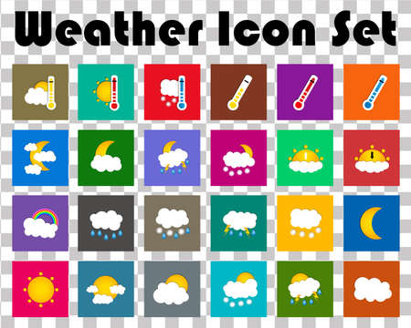 colored window: Set of 24 vector weather square colored window style flat icons isolated. Vector illustration Illustration