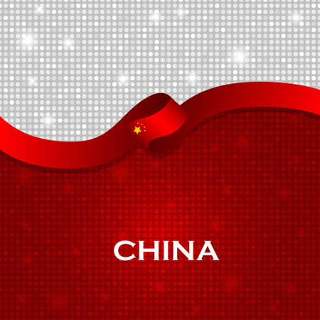 particle: China flag ribbon shiny particle style. Vector Illustration