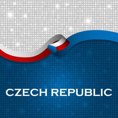 czech republic flag: Czech Republic flag ribbon shiny particle style. Vector Illustration Illustration
