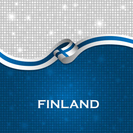 FINLAND flag: Finland flag ribbon shiny particle style. Vector Illustration
