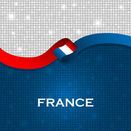 particle: France flag ribbon shiny particle style. Vector Illustration