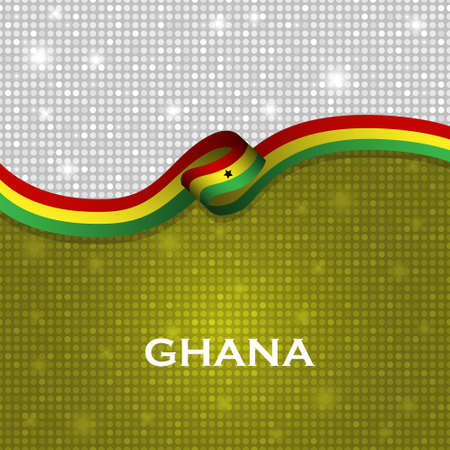 strip design: Ghana flag ribbon shiny particle style. Vector Illustration