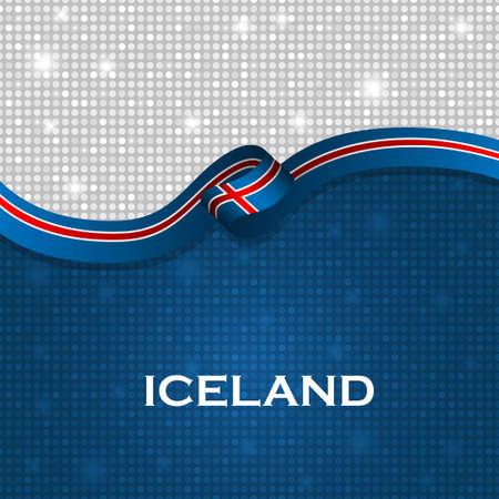 iceland flag: Iceland flag ribbon shiny particle style. Vector Illustration