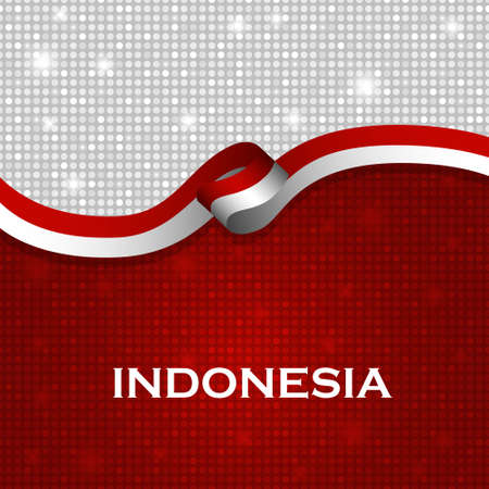 burgundy ribbon: Indonesia flag ribbon shiny particle style. Vector Illustration