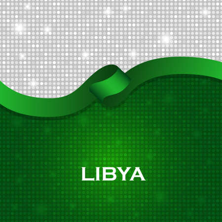 particle: Libya flag ribbon shiny particle style. Vector Illustration Illustration