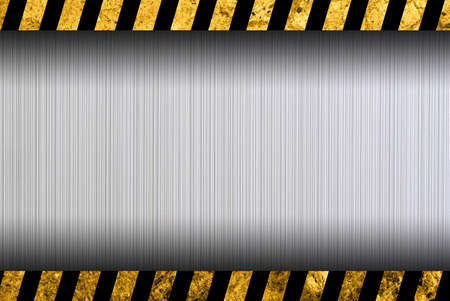 yellow beware: Grunge metal background with black and yellow warning stripes