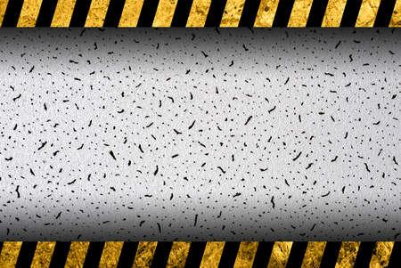 hazard stripes: Grunge grey background with black and yellow warning stripes Stock Photo