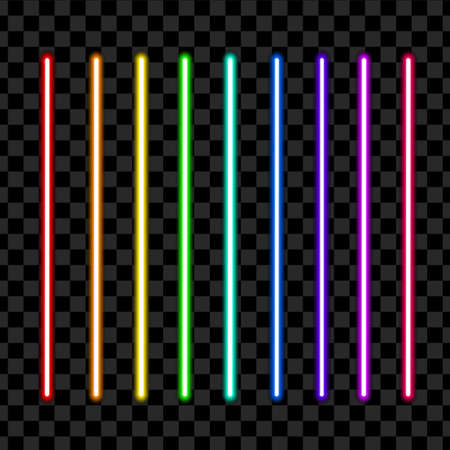 Neon tube light pack isolated on transparent background. Vector illustration