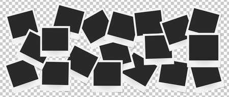 Collage van realistische vector fotolijsten geïsoleerd. Sjabloon retro foto ontwerp, Vector illustratie