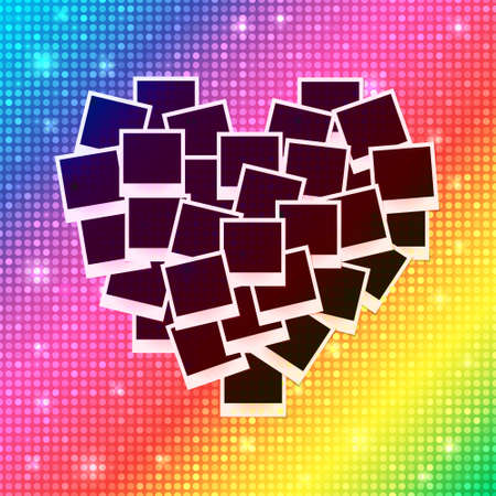 Heart concept made with empty photos on shining rainbow background. Memories, card, love template design. Vector illustration
