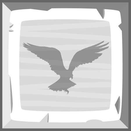 drown: Hand drown old silver ingot tile with eagle emblem. Vector illustration Illustration