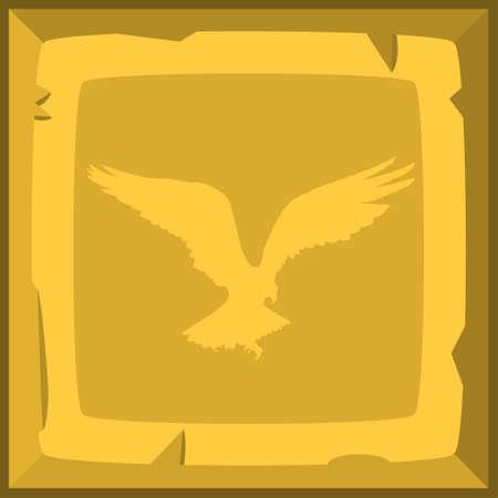 ahogarse: Mano ahogar teja vieja lingote de oro con el emblema del águila. ilustración vectorial