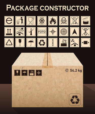 Vector package constructor with box. Packaging symbols.  Icon set including waste recycling, fragile, flammable, this side up, handle with care, keep dry and others. Vector illustration