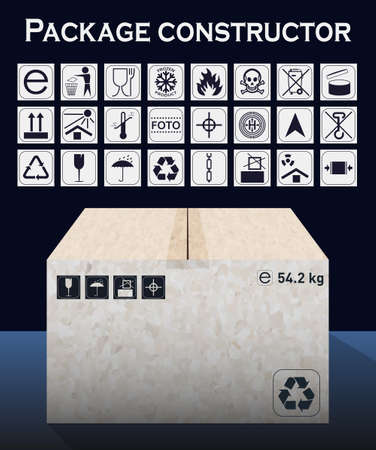 this side up: Vector package constructor with box. Packaging symbols.  Icon set including waste recycling, fragile, flammable, this side up, handle with care, keep dry and others. Vector illustration