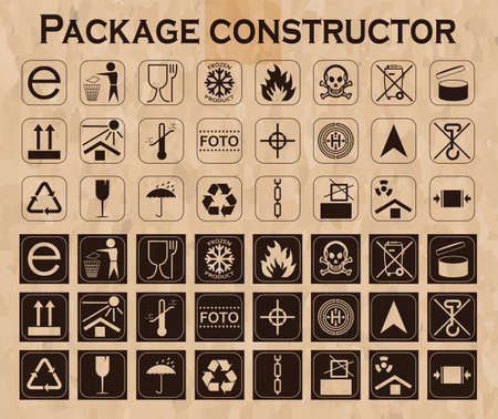 handles: Vector package constructor. Packaging symbols.  Icon set including waste recycling, fragile, flammable, this side up, handle with care, keep dry and others. Vector illustration
