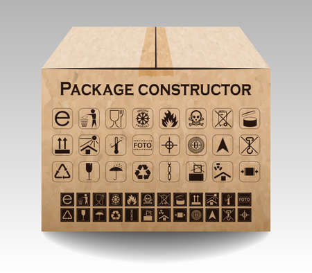 keep up: Vector package box isolated on white. Packaging symbols.  Icon set including waste recycling, fragile, flammable, this side up, handle with care, keep dry and others. Vector illustration