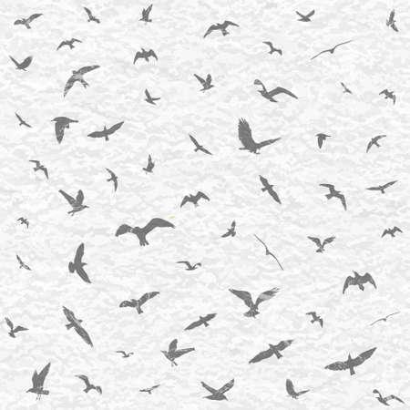 Flying birds silhouettes on white grunge background. Vector illustration