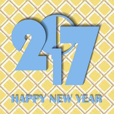 ahogarse: A�o Nuevo 2017 en concepto de mano de dibujos animados se ahogan amarillo antiguo azulejos diagonales textura. ilustraci�n vectorial