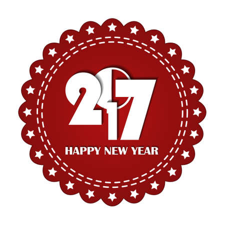beautify: Embroidered red round ribbon stamp isolated on white. New Year 2017 concept. Illustration