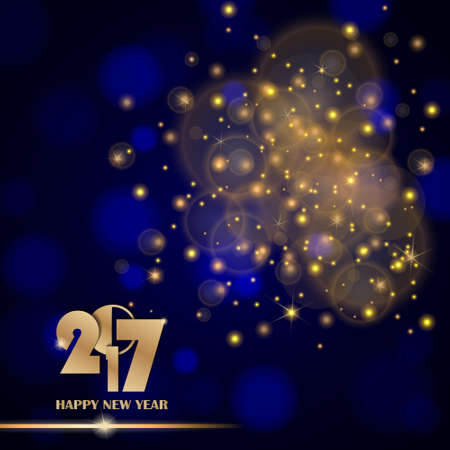 new years day: Golden lights abstract on blue ambient blurred background. New Year 2017 concept. Luxury design. Vector illustration Illustration