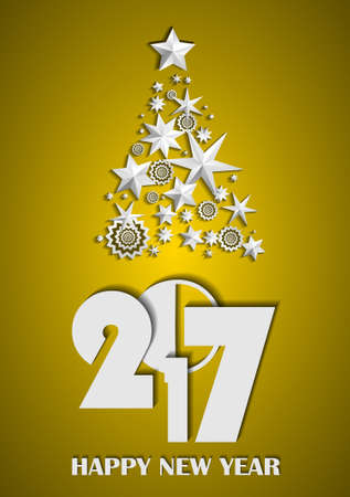Christmas Tree made of stars and snowflakes on gold background. New Year 2017 concept. Vector illustration