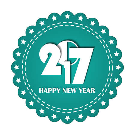 webbing: Embroidered turquoise round ribbon stamp isolated on white. New Year 2017 concept. Can be used for banner, award, sale, icon,  , label etc. Vector illustration Illustration