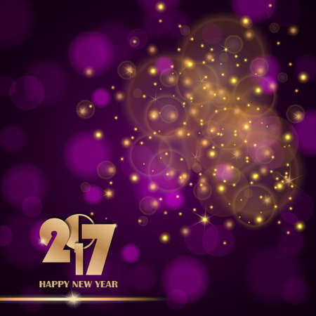 ambient: Golden lights abstract on purple ambient blurred background. New Year 2017 concept. Luxury design. Vector illustration